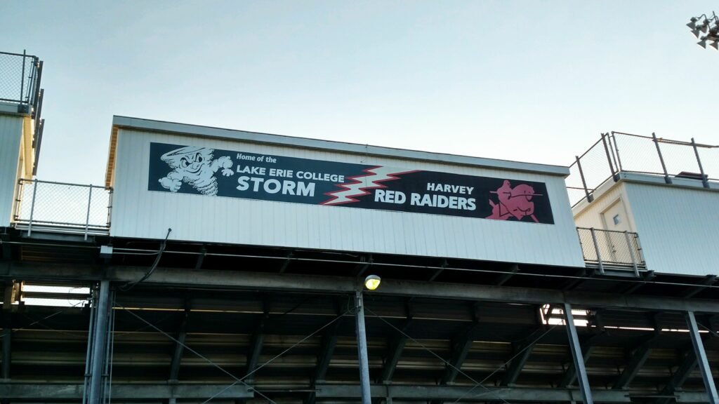 Vinyl stadium banner showing school pride