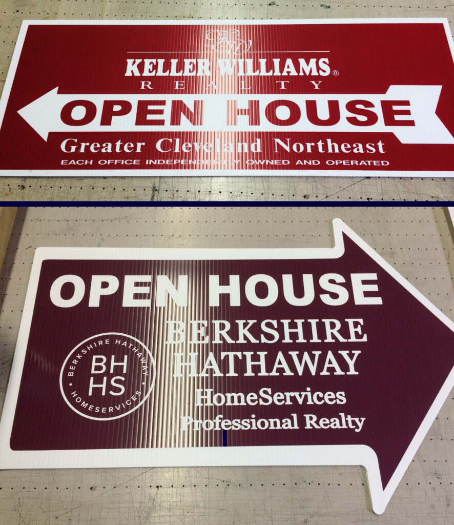 real estate open house lawn sign design